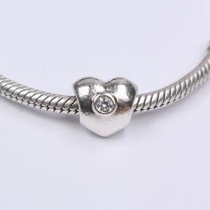 PANDORA Silver Sparkling Heart Clear CZ Charm